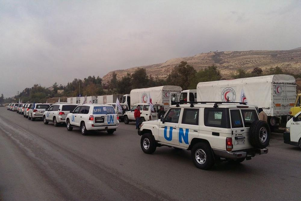 A humanitarian convoy on its way to the besieged Syrian town of Madaya. Photo/UN OCHA